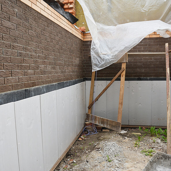 house basement, foundation foam insulation details with waterproofing and damp proof membranes